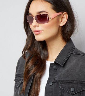 Pink Diamante Side Rimless Sunglasses New Look