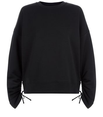 Black Ruched Sleeve Sweater New Look