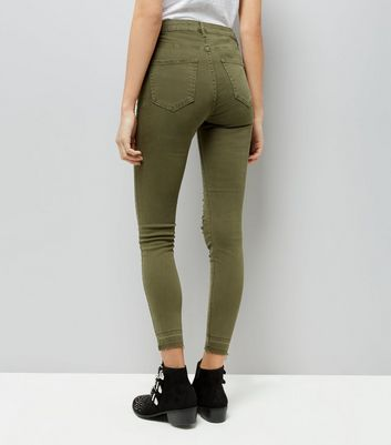 Khaki Ripped Knee Skinny Jenna Jeans New Look