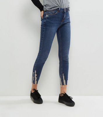 Blue Ripped Hem Skinny Jenna Jeans New Look