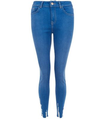 Blue Fray Hem Skinny Jenna Jeans New Look