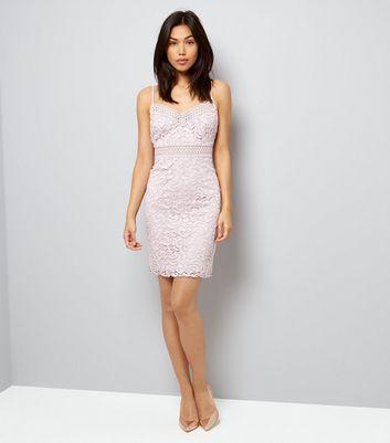 Light Purple Lace Bodycon Dress New Look