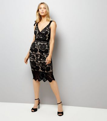 Black Premium Lace Tie Strap Dress New Look