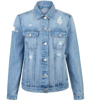 Teens Blue Ripped Oversized Denim Jacket New Look