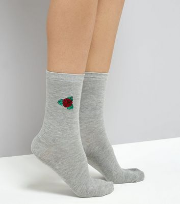 Grey Rose Embroidered Socks New Look