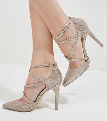 Gold Glitter Cross Strap Pointed Heels