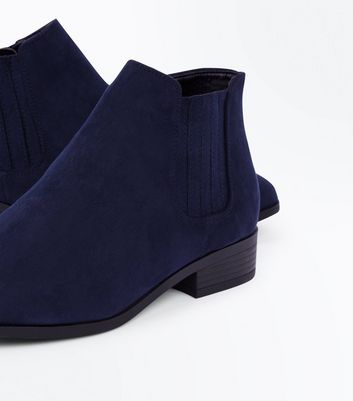 Wide Fit Navy Suedette Chelsea Boots New Look