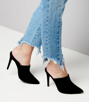 Black Suedette Pointed Heeled Mules