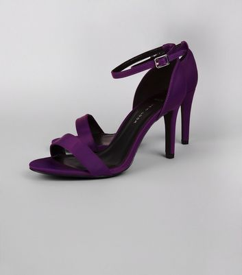 Wide Fit Purple Satin Ankle Strap Heels