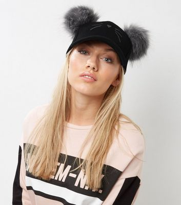 Black Double Pom Pom Cat Cap New Look