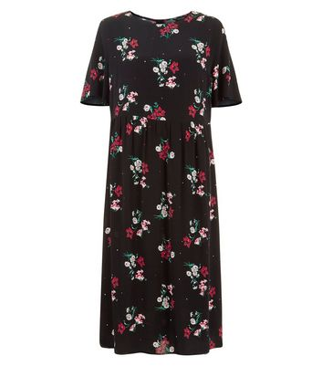Black Floral Print Midi Smock Dress Add to Saved Items Remove from Saved Items