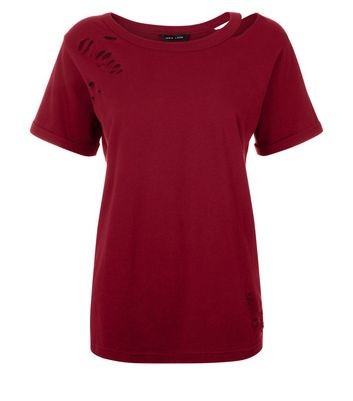 Burgundy Cut Out Ripped Neck T-Shirt New Look