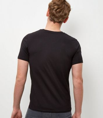 Black Muscle Fit V Neck T-Shirt New Look