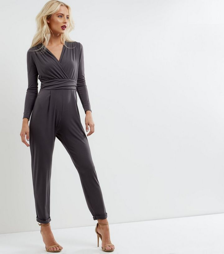 fdbd3fced6 Dark Grey Wrap Front Long Sleeve Jumpsuit