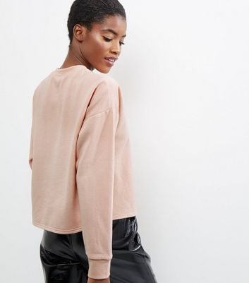 Shell Pink Sateen Panel Long Sleeve Sweater New Look
