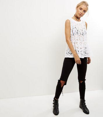 Noisy May White Lace Sleeveless Top New Look