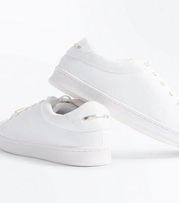 White Metal Trim Trainers New Look