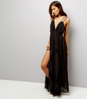 Black Chiffon Maxi Beach Dress New Look
