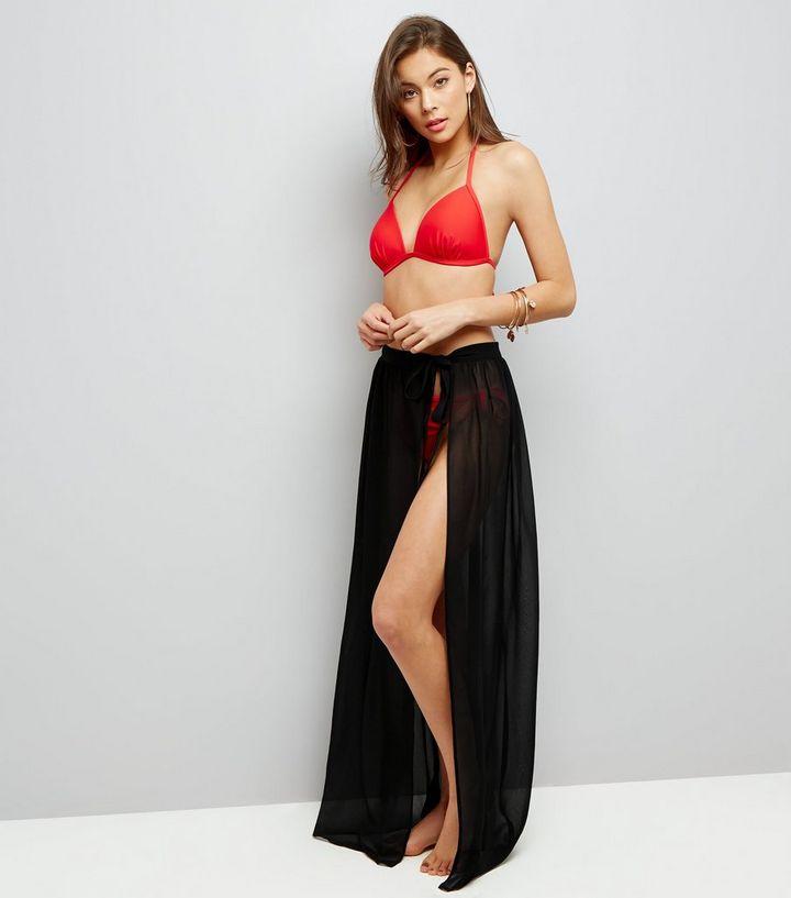db7c652ca6372 Black Sheer Sarong Maxi Skirt   New Look