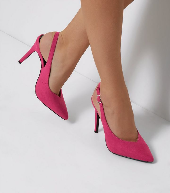 45b636b57ce Pink Suedette Pointed Slingback Heels Add to Saved Items Remove from Saved  Items