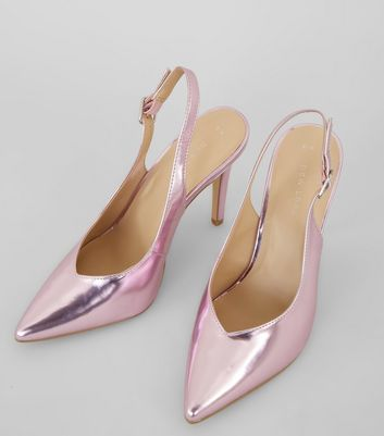 Pink Metallic Pointed Sling Back Heels New Look