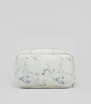 White Marble Effect Pencil Case New Look