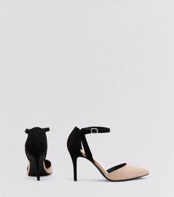 Cream Comfort Contrast Back Pointed Heels New Look