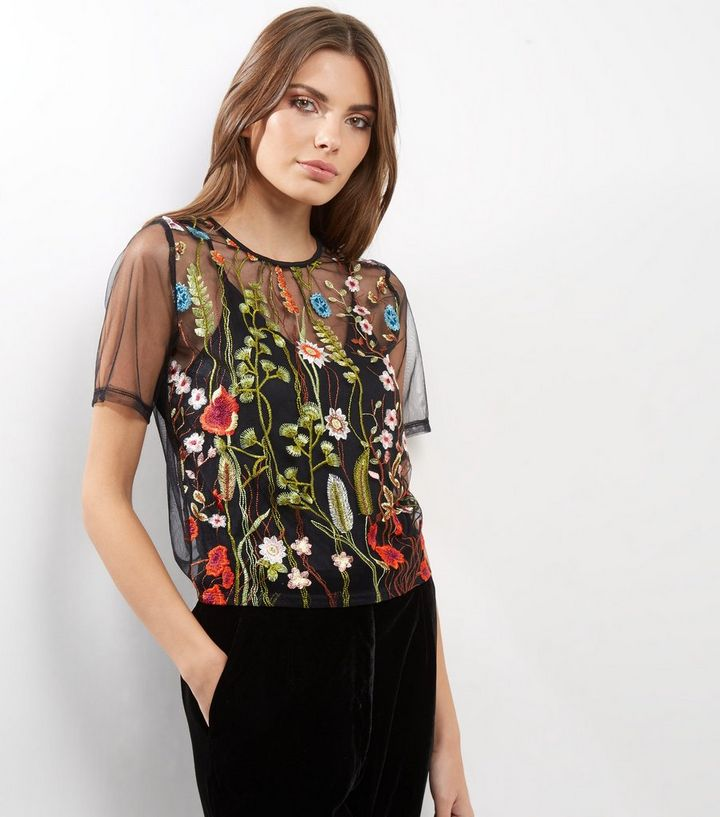 2d2ba95b00 Cameo Rose Black Sheer Floral Embroidered Top