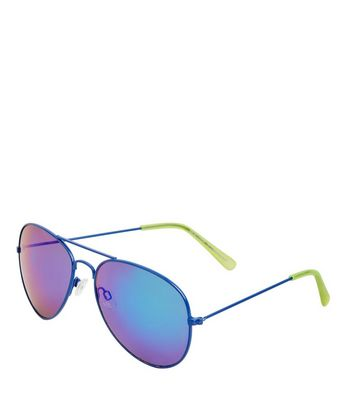 Blue Holographic Lens Pilot Sunglasses New Look