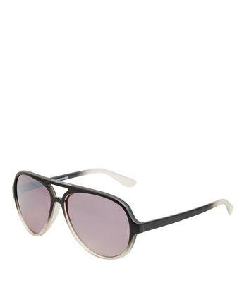 Black Ombre Pilot Sunglasses New Look