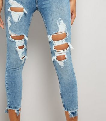Blue Ripped Knee Skinny Jenna Jeans New Look