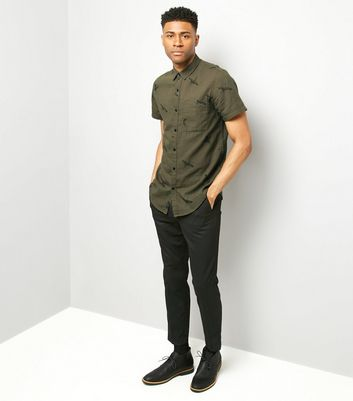 Khaki Bird Print Short Sleeve Shirt New Look
