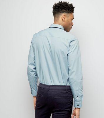 Pale Blue Stripe Collar Long Sleeve Shirt New Look