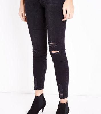 Black Ripped Fray Hem Jenna Jeans New Look