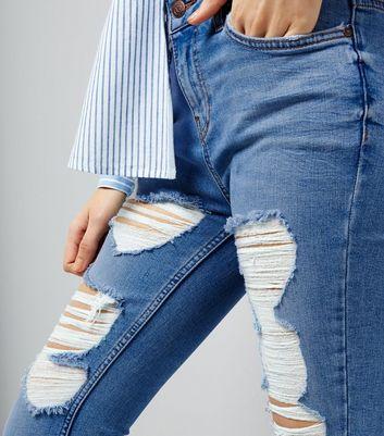 Pale Blue Ripped Fray Hem Skinny Jenna Jeans New Look