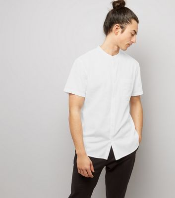 White Textured Short Sleeve Grandad Collar Shirt New Look