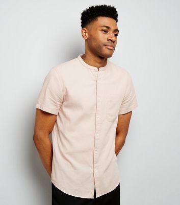 Pink Textured Short Sleeve Grandad Collar Shirt New Look