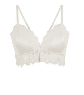 Cream Bridal Satin And Lace Scallop Hem Bralet New Look