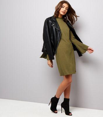 Khaki Scuba Split Bell Sleeve Tunic Dress New Look