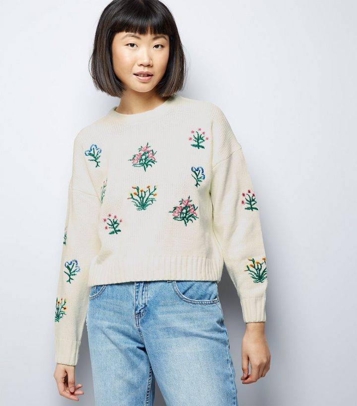 c7ede0318ed Cream Floral Embroidered Cropped Jumper