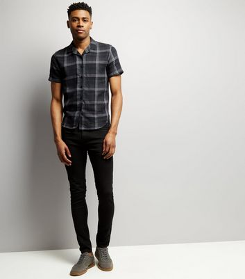 Black Check Short Sleeve Shirt New Look