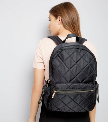 Black Quilted Backpack New Look