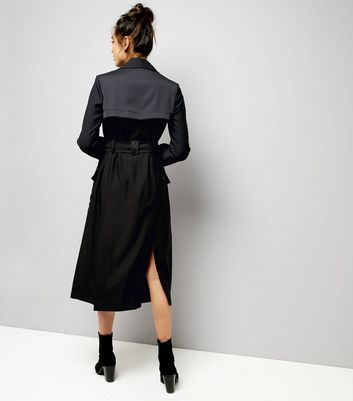 Black Belted Military Duster Coat New Look