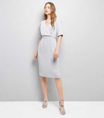 Grey Wrap Front Pencil Dress New Look