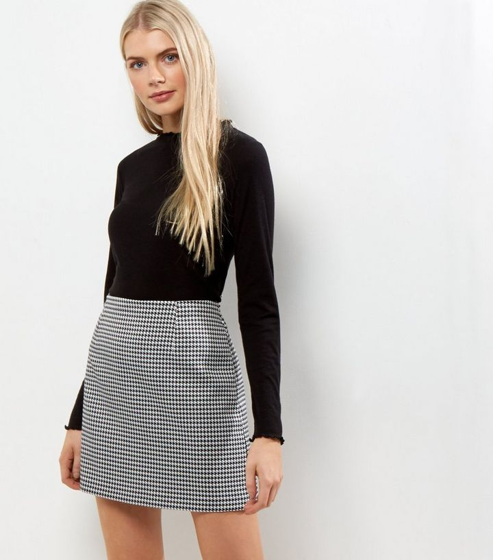 e068f64efe Black Houndstooth Check Mini Skirt Add to Saved Items Remove from Saved  Items