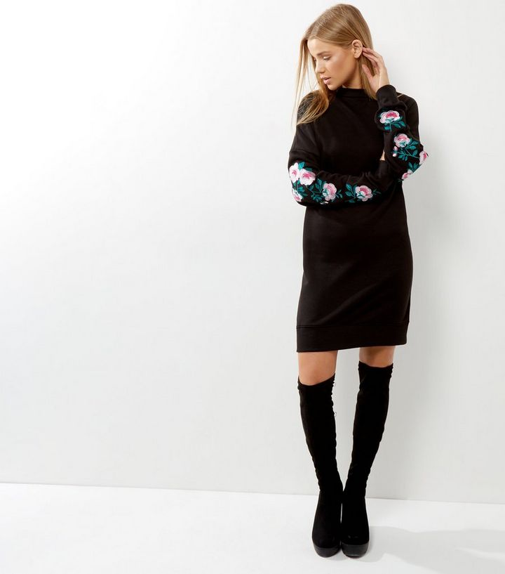 9268c9ad946 ... Black Floral Embroidered Sleeve Jumper Dress. ×. ×. ×. Shop the look