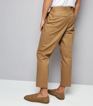 Tan Cropped Cotton Trousers New Look