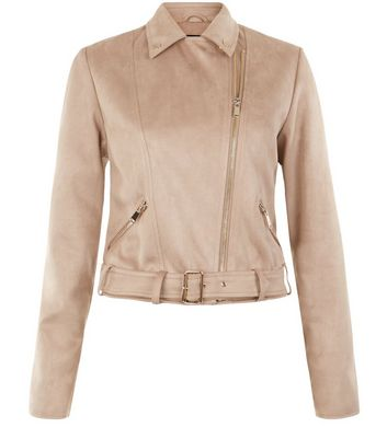 Stone Suedette Jacket New Look