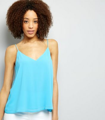 Turquoise Lace Up Back Cami Top New Look
