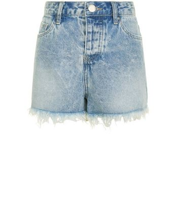 Teens Blue Fray Hem Denim Shorts New Look